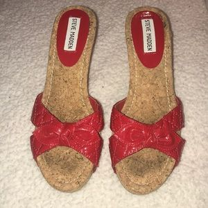 Red cork wedge